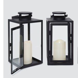 Lights Black metal glass paneled flameless lantern